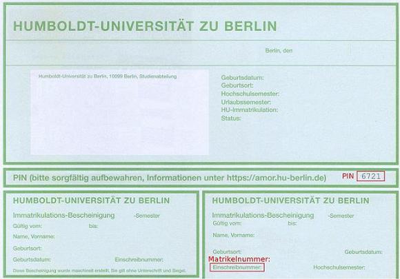 Fu Berlin Immatrikulationsbescheinigung